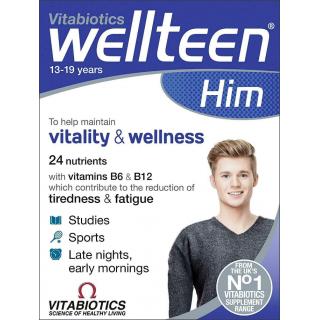Vitabiotics Wellteen Him. 24 Nutrients. 30 Tablets.