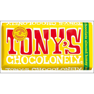 Tony's Chocolonely Milk Chocolate Almond Honey Nougat Bar. 180g.
