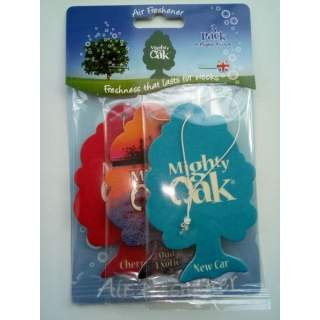 Mighty Oak Car Air Freshener 3 Pack. New Car, Oud Exotic & Cherry Scent.