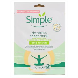 Simple De-Stress Sheet Mask. 1 Sachet.