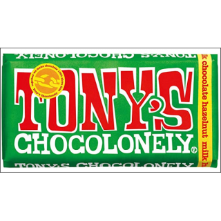 Tony's Chocolonely Milk Chocolate Hazelnut Bar. 180g.