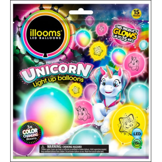 Illooms LED Balloons. Unicorn Selection. 15 Balloons.