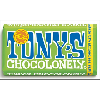 Tony's Chocolonely Dark Chocolate Almond Sea Salt Bar. 180g