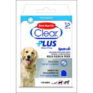 Bob Martin Clear Plus Flea & Tick Treatment. Large Dogs (20 - 40 KG Size).