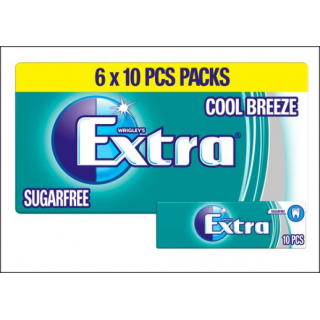 Wrigley's Extra Cool Breeze Sugarfree Chewing Gum. 6 x Ten Piece Packets.