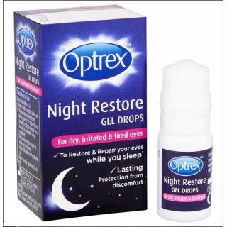 Optrex Night Restore Gel Drops. For Dry, Irritated & Tired Eyes. 10ml.