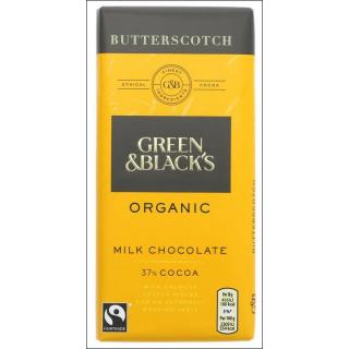 Green & Black's Organics Butterscotch Chocolate Bar. 37% Cocoa. 90g.