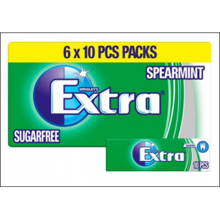 Wrigley's Extra Spearmint Sugarfree Chewing Gum. 6 x Ten Piece Packets.