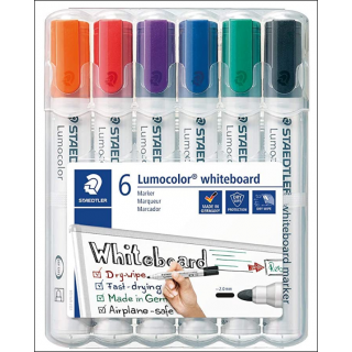 Staedtler Lumocolor Whiteboard Set. 6 Pack (Mixed Colours).