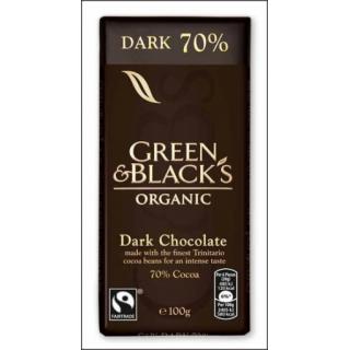 Green & Black's Organic Dark Chocolate Bar. 70% Cocoa. 90g.