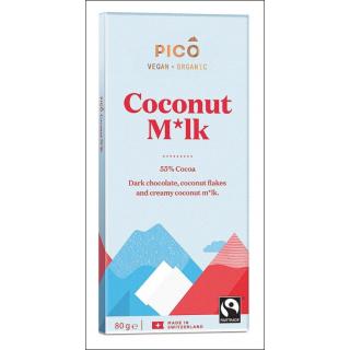 Pico Vegan + Organic Chocolate. Coconut M*lk. 80g.
