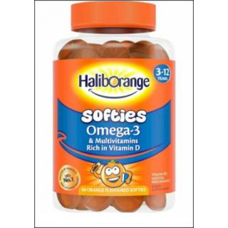 HalibOrange Softies Omega-3 & Multivitamin Supplement. 60 Softies.