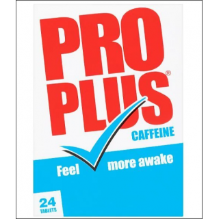 Pro Plus Caffeine. Temporary Tiredness Relief. 24 Tablets.