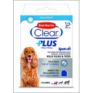 Bob Martin Clear Plus Flea & Tick Treatmeant. Medium Dogs (10 - 20 KG Size).