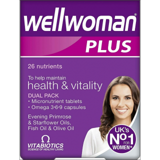 Vitabiotics Wellwoman Plus. 26 Nutrients. Dual Pack. 56 Tabs/Caps.