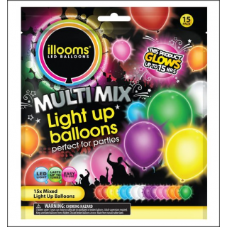 Illooms LED Balloons. Multi Mix Selection. 15 Balloons.