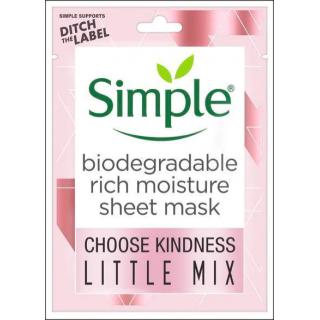Simple Biodegradable Rich Moisture Sheet Mask. 1 Sachet.