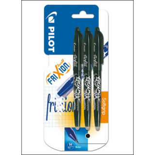 Pilot Frixion Erasable Pens. 0.7mm Black Ink. 3 Pack.