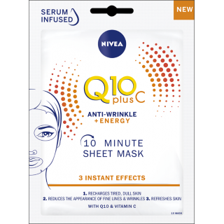 Nivea Q10 Plus C Anti-Wrinkle + Energy Mask. 1 Sachet.