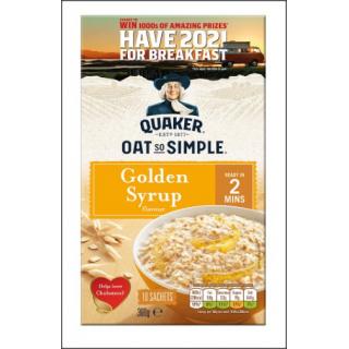 Quaker Oat So Simple Golden Syrup. 10 Sachets. 360g.