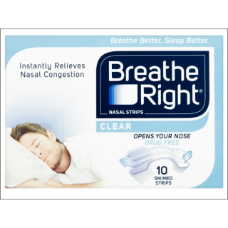 Breathe Right Clear. Relieves Nasal Congestion. 10 Strips.