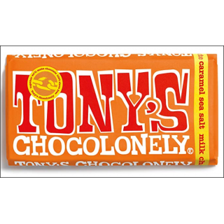 Tony's Chocolonely Milk Chocolate Caramel Sea Salt Bar. 180g.