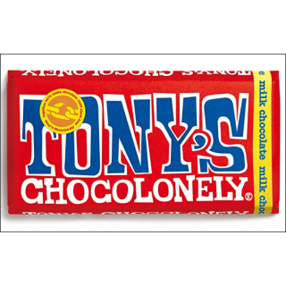 Tony's Chocolonely Milk Chocolate Bar. 180g.