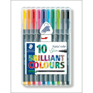 Staedtler Triplus Roller Set. 0.4mm. 10 Pack (Mixed Colours).
