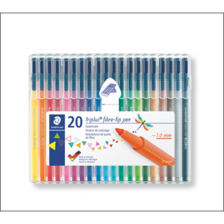 Staedtler Triplus Fineliner Set. 1.0mm. 20 Pack (Mixed Colours).