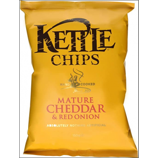 Kettle Mature Cheddar & Red Onion Crisps. 150g.