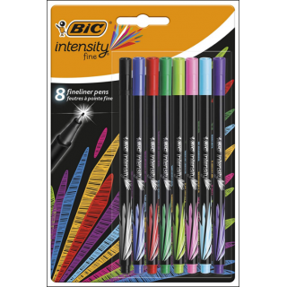 BIC Intensity Fine Fineliner Pens. Assorted Colours. 8 Pack.