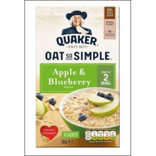 Quaker Oat So Simple Apple & Blueberry. 10 Sachets. 360g.