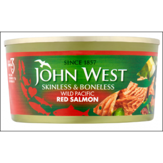John West Wild Pacific Red Salmon. Skinless & Boneless. 170g.