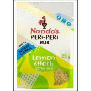 Nando's Peri-Peri Rub. Lemon Herb Extra Mild. Serves 3 - 4. 25g.