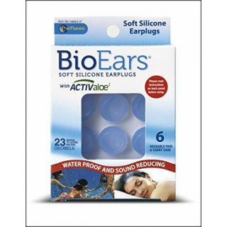 BioEars Soft Silicone Earplugs. Waterproof & Sound Reducing. 6 Pairs.