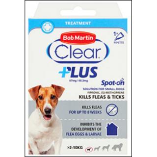Bob Martin Clear Plus Flea & Tick Treatment. Small Dogs (2 - 10 KG Size).