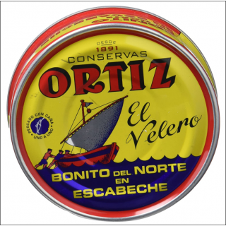 Ortiz El Velero. Bonito Del Norte (White Tuna In Olive Oil). Spain Produced.