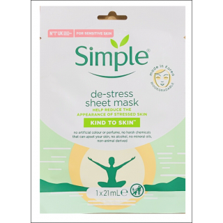 Simple De-Stress Sheet Mask. 1 Sachet.
