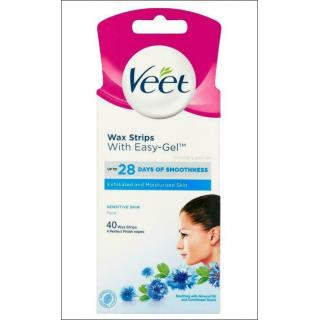 Veet Wax Strips. Sensitive Skin Face. 40 Wax Strips.