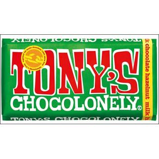 Tony's Chocolonely Milk Chocolate Hazelnut Bar. 180g.