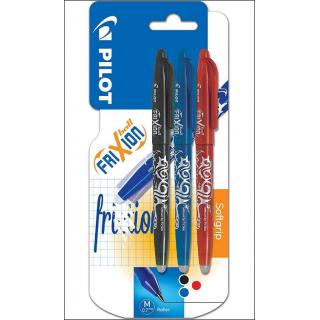 Pilot Frixion Erasable Pens. 0.7mm Mixed Colours. 3 Pack.