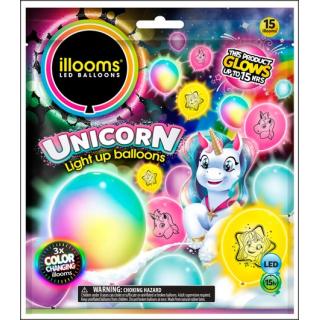 Illooms LED Balloons. Unicorn Selection. 15 Balloons.