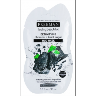 Freeman Feeling Beautiful Detoxifying Charcoal + Black Sugar Mud Mask. 1 Sachet.