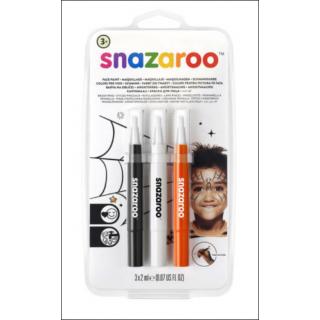 Snazaroo Face Paint Set. 3 Pack (Black, White & Orange).
