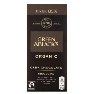 Green & Black's Organic Dark Chocolate Bar. 85% Cocoa. 90g.