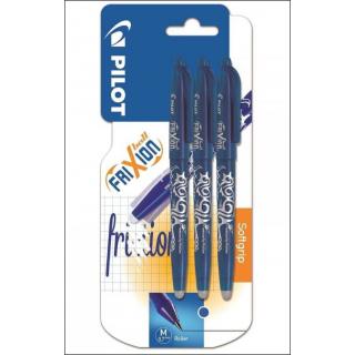 Pilot Frixion Erasable Pens. 0.7mm Blue Ink. 3 Pack.