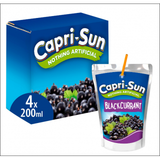 Capri-Sun Blackcurrant 4 Pack. 4 x 200ml Drinks.