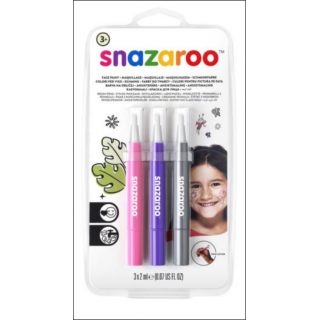 Snazaroo Face Paint Set. 3 Pack (Pink, Purple & Silver).