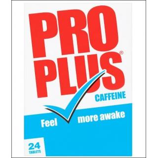 Pro Plus Caffeine. Temporary Tiredness Relief. 24 Tablets.