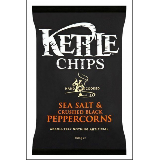 Kettle Sea Salt & Crushed Black Peppercorns Crisps. 150g.